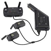 PENIVO DJI Spark 専用ドローンのバッテリー カーチャージャー 車載充電器 旅行 戸外充電アクセサリー 二つバッテリーポート 一つのUSBポート 同時に充電