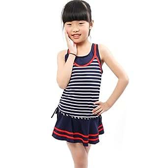 ヤング(Young) 水着 子供 女の子 (8-14歳) 子供水着 2点セット かわいい スイミング ウェア ボーダー スカート ストライプ セパレート キッズ タンキニ 女児 ジュニア (8-10歳)