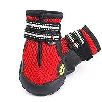 TYLDZ アウトドア、ペット靴、犬の靴、4匹の大型犬、ラブラドールアラスカ犬の靴、畜産、ノンスリップ、アンチスキッド、フォーシーズンズ、ハイキングシューズ、犬の靴、ブラック(通気性) (Color : Red, Size : 5#)