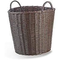 ランドリーバスケット ハンドルの服の収納と柔らかいプラスチック製の織りバスケットマルチオプションの大きな開口 ZHANGQIANG (色 : Brown, サイズ さいず : 40cm*41cm)