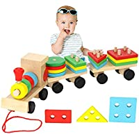 habudda Wooden Stacking TrainプッシュプルトイSorting & Stacking木製ブロック列車おもちゃfor Toddlers Stackingゲーム形状色認識Geometric Stacker ChunkyパズルToy