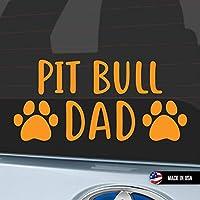 Pit Bull Dad ステッカー デカール 車用 ピットブル パパ 犬 ワンコ わんこ dog - Orange