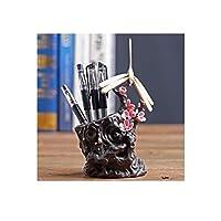 JIANSHENG ペンホルダー、オフィスデスクトップかわいい超かわいい女の子の心、クリエイティブファッションメンズパーソナリティシンプルなセラミック装飾品 (Style : The other side of the flower)