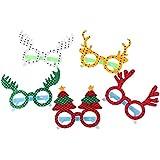 BESTOYARD 5PCSクリスマスメガネフレームツリーエルク漫画眼鏡衣装アクセサリーパーティー装飾ギフト子供