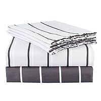 (マリーミー) MARRYME 布団カバー 4点セット 寝具カバーセット 寝具用品 掛け布団カバー ボックスシーツ 枕カバー 薄く 柔らかい 四節適用 ボーダー柄 夏用 ホワイト セミダブル
