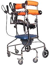 立ち散歩スタンド/ウォーカー/ウォークエイド/スタンドホイール付きシートホイールリハビリ機器折りたたみ式高さ調節可能な老人ウォーカー下肢ウォーカーオレンジ6輪ベッドサイドトイレ付き