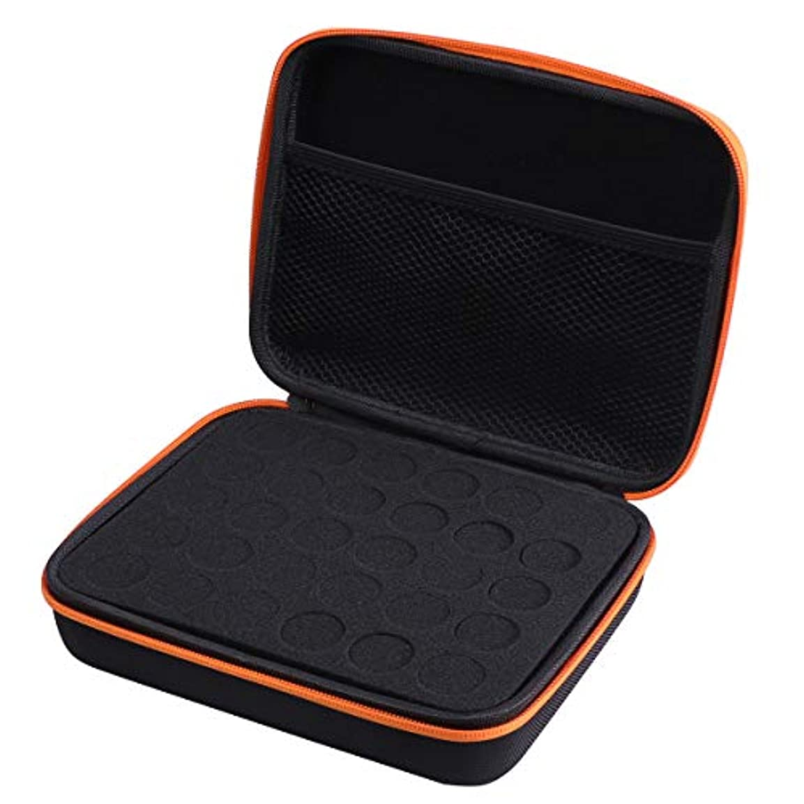 目に見える遠洋のコンプリートFrcolor エッセンシャルオイル ケース 携帯用 アロマポーチ アロマケース メイクポーチ 精油ケース 30本用(オレンジ)
