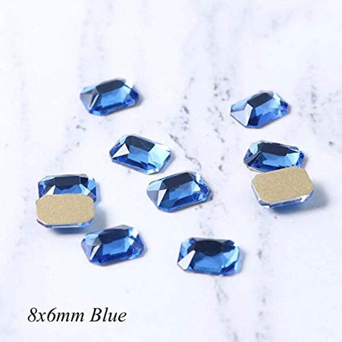 同等の苦いまっすぐにする10個入りネイルラインストーン長方形フラットバッククリスタルシャイニー3Dストラスジェムストーンマニキュアネイルアートデコレーションチャームジュエリー,ブルー