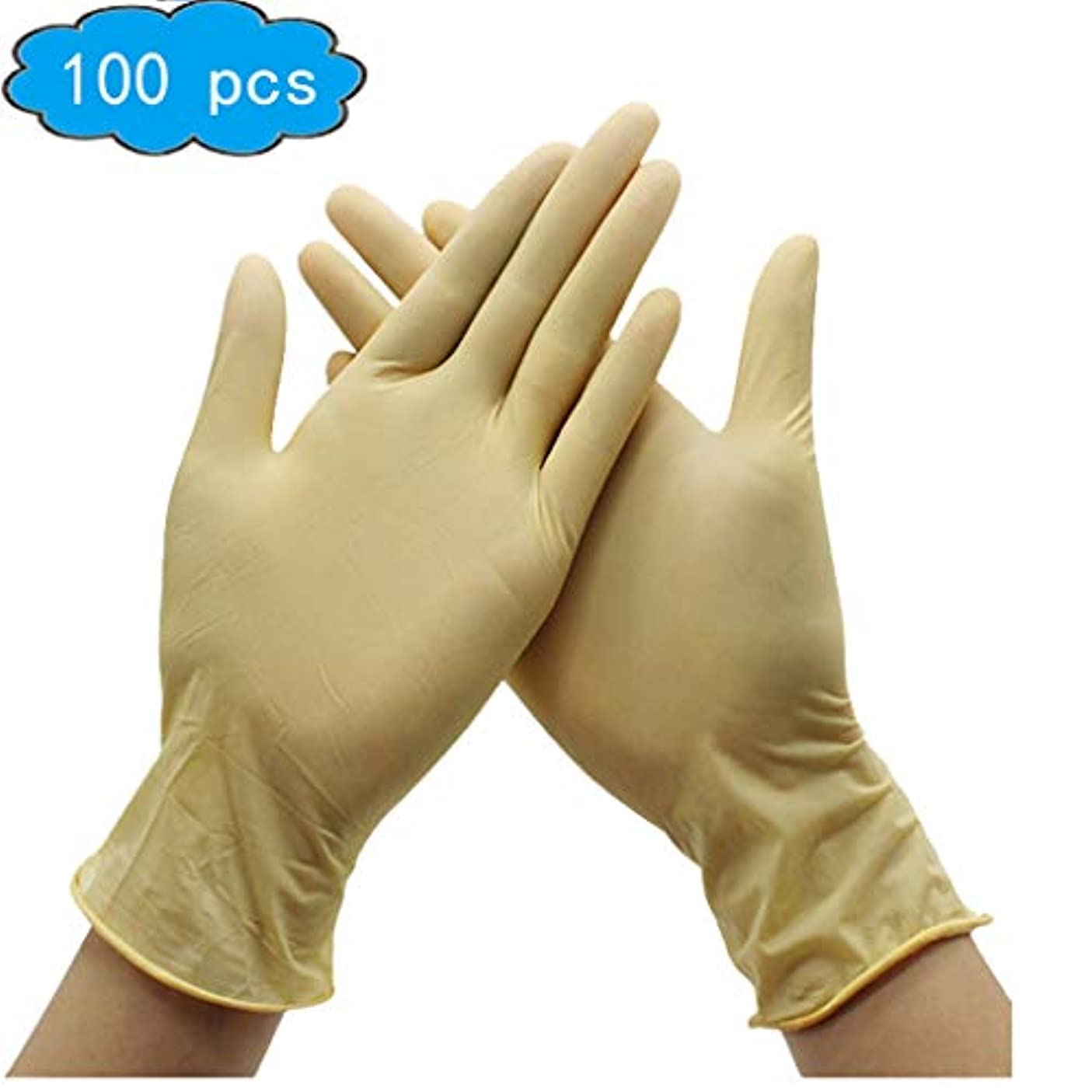 品ペチコート衛星ラテックス手袋、試験/食品グレードの安全製品、使い捨て手袋および手袋Dispensers 100psc、衛生手袋、健康、家庭用ベビーケア (Color : Beige, Size : L)
