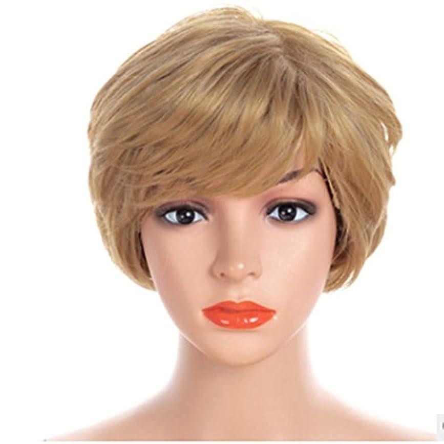 電話に出るミル違うYOUQIU フラットや斜め前髪髪型のウィッグウィッグとの自然なゴールドとホワイトWig- 30センチメートルショートストレートウィッグ (色 : Gold-white)