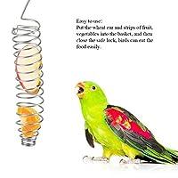 FidgetGear オウムの食糧バスケットのキビのステンレス鋼の供給装置の鳥おりの送り装置