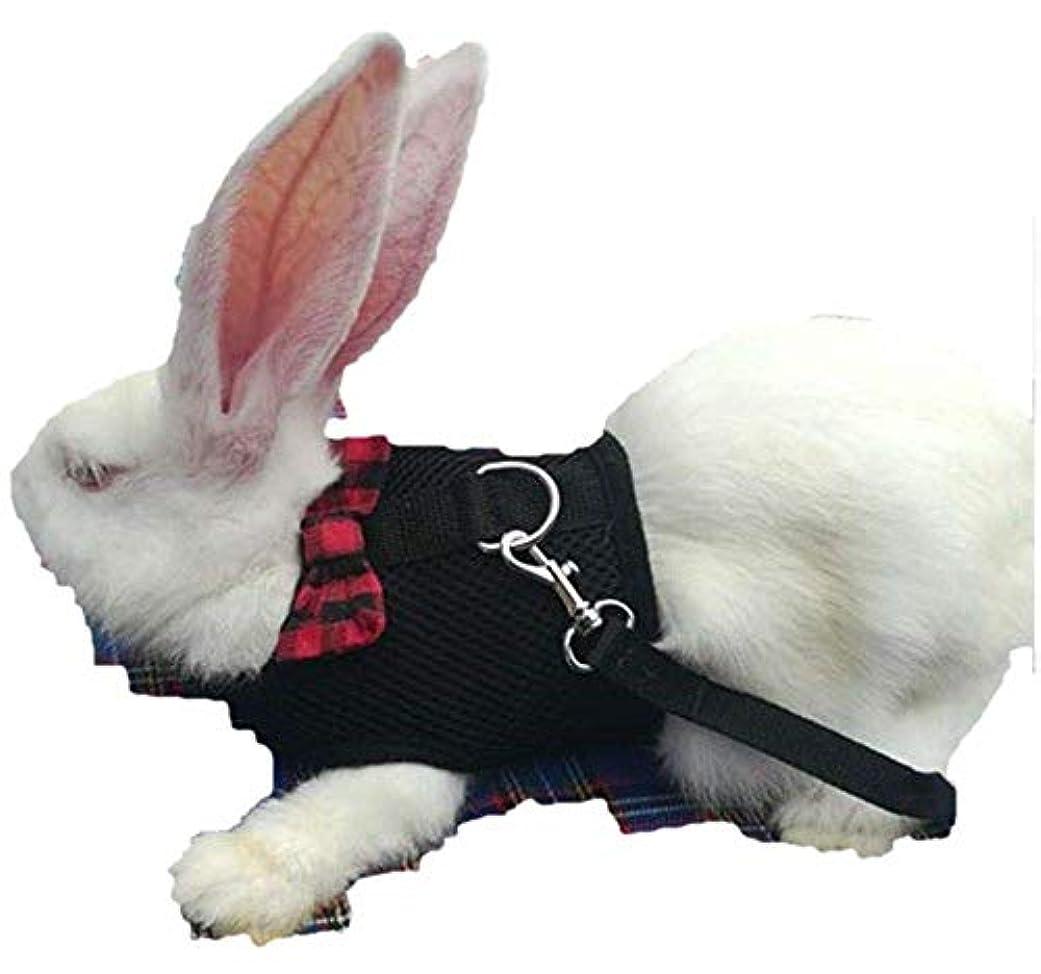 窒素許可嫌なRabbit ウサギ小ネズミハーネス ナイロン製 ソフト 束縛感なし 反射材料 調節可能 引っ張り防止 散歩/訓練/お出掛け (S)