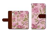 らくらくスマートフォン me F-03K 対応 手帳型 カメラ穴搭載 ダイアリー スマホカバー レザー製 花柄 【ピンク】
