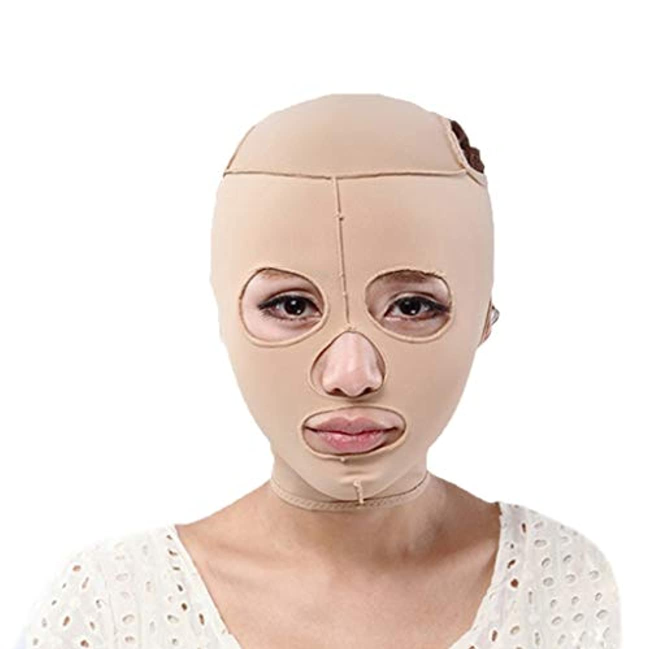 操作ウェイター脅威あごのストラップ、顔の減量のしわ防止マスク、快適な通気性マスクを備えたオールインクルーシブの顔、薄いフェイスマスクのリフティング包帯引き締め (Size : L)
