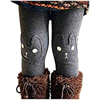 BOWKITE Kids Girls Winter Leggings Bunny Printed Thick Warm Fleece Pants for 2-7 Years