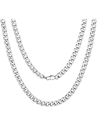 """ChainsPro Mens NK 1:1 Curb Chain Necklace, 5/9/12/15 MM Width, 18"""" 20"""" 22"""" 24"""" 26"""" 28"""" 30"""" Length, Hip-Hop Cool Style, 316L Stainless Steel/18K Gold Plated-(with Gift Box)"""