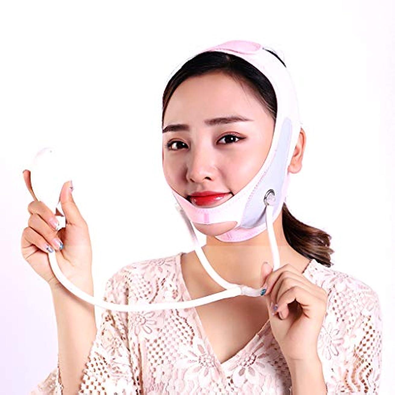 サスペンション冗談で塗抹顔の減量フェイスマスク引き締め皮膚改善咬筋リフティング収縮薄い顔弾性包帯 V 顔アーティファクト