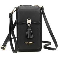 RFID Blocking Wallet Women's Small Crossbody Handbag Cell Phone Bag Credit Card Purse with Tassel