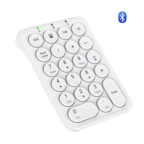 iClever テンキー Bluetooth 多機種対応 Tabキー付き 超薄型 ブルートゥーステンキー 数字キーボード ナンバーパッド Android/Win/iOS 対応 持ち運び便利 ホワイト IC-KP08