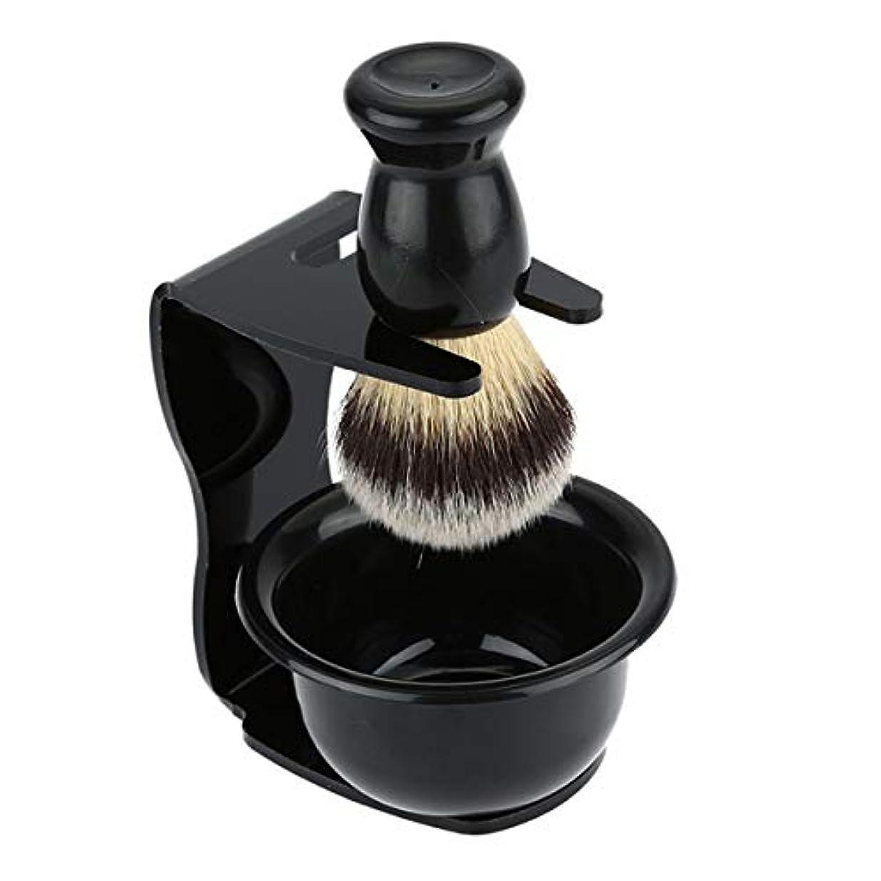 OUNONA ナイロンシェービングカミソリブラシアクリルスタンドと洗面化粧石鹸ボウルセット