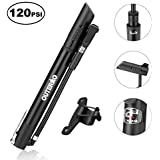 OUTERDO Double Cylinder Bike Pump with Gauge, Portable Light Weight Aluminum Cycle Pump, Mini Bicycle Hand Pump Compatible with Presta & Schrader for Mountain, Road, Hybrid & BMX Bike