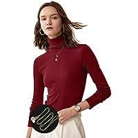 KIWI RATA Womens Long Sleeve Mock Turtleneck Tops Solid Lightweight Slim Fit T-Shirt Basic Tee Soft Pullover Blouse