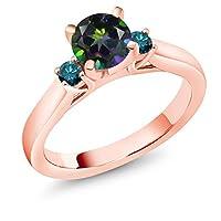 Gem Stone King 1.2カラット 天然石 ミスティックトパーズ (グリーン) 天然 ブルーダイヤモンド シルバー925 ピンクゴールドコーティング 指輪 リング