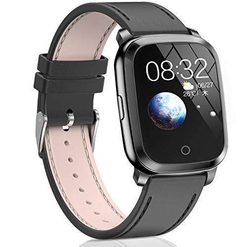 Trackbee スマートウォッチ Bluetooth5.0 ガラススクリーン 本革ベルト iOS/Android対応 (ブラック)