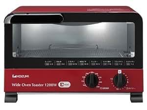KOIZUMI(コイズミ) 【温度調節機能付 1200Wハイパワー 食パン3枚焼き】オーブントースター レッド KOS-1211/R