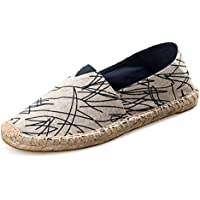 AUCDK Couple Graffiti Loafers Lazy Casual Round Toe Single Shoes Low Top Work Shoes Unisex Linen Slacker Boat Shoes