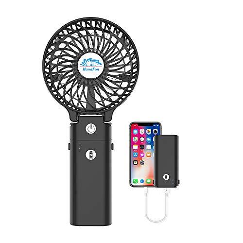 【2019新版】携帯扇風機、HandFan 手持ち扇風機/卓上扇風機 折れ變化 最大20時間動作 5200mAhモバイル/大容量電池搭載 小型 USB充電式扇風機 静音 ミニハンディーファン 6枚羽根強力 ハンドルの分解はモバイルバッテリーになります(ブラック)