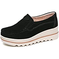 LEOVERA Women's Platform Slip On Loafers Comfort Suede Moccasins Wide Low Top Wedge Shoes