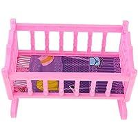 D DOLITY ピンク 人形ロッキングベッド プラスチック製 装飾アクセサリー 揺りかご模型 ベッドルーム家具