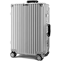 "IRVING Trolley Suitcase, Universal Wheel, Retro,20"" (53 x 36 x 24 cm), 22"" (58 x 39 x 25 cm), 24"" (64 x 42 x 27 cm), 26"" (69 x 46 x 29 cm) (Color : Silver, Size : 24 inches)"