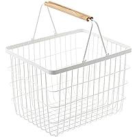 洗濯かご ランドリーバスケット 洗濯物入れ バスケット 脱衣かご 取っ手付き 持ち運び かご 収納 籠 〔M〕