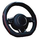 ZATOOTO車ハンドルカバー d型 本革 ステアリングカバー 汚れ・滑り防止 3Dグリップ ステアリングホイールカバー LY106-レッドライン