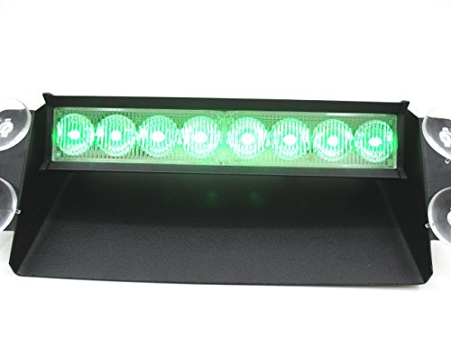 LED 車用 8連 ストロボ フラッシュ ライト 選べる 4種類 【赤・青】【赤】【青】【緑】 シガーソケット用 (D 緑)
