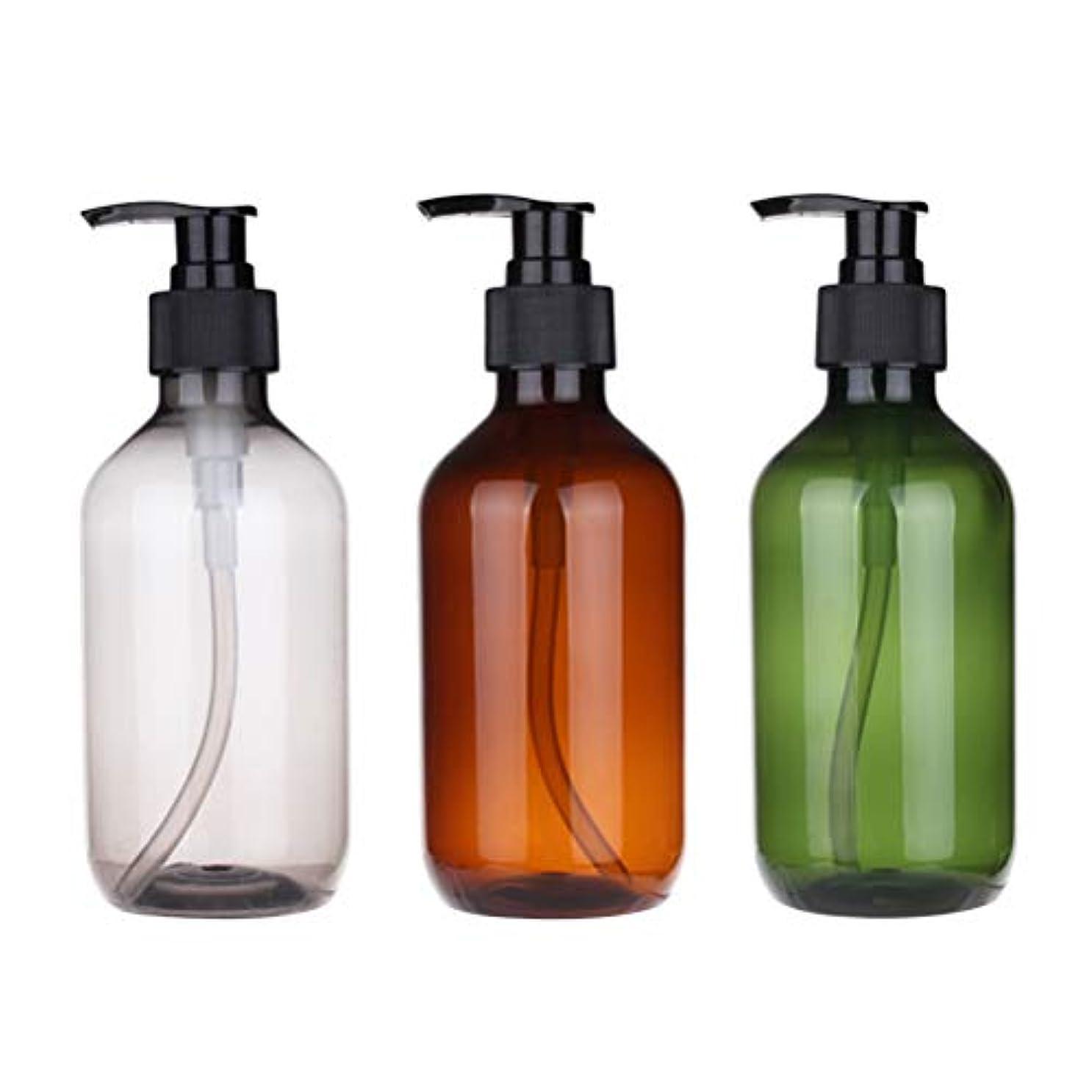 かすれた限界溶けたFrcolor ポンプ瓶 500ml ポンプボトル 遮光瓶 ドロップポンプ 泡立て 詰め替え容器 シャンプーハンドソープ PET製 3本セット(茶色+グリーン+ブラック)