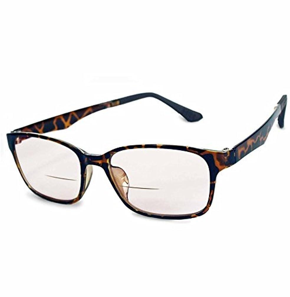 ハイブリッドリーディンググラス【バイフォーカル(2重焦点)+調光レンズ】老眼鏡レンズ (デミブラウン, 度数+3.0)