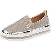 Women's Casual Shoes 2019 New Sequins Deck Shoes Platform Shoes Ladies Rhinestone Loafers Novelty Shoes Black Silver,B,35