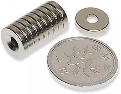 1stモール 磁石 小型 強力 ネオジム ネオジウム マグネット/丸型皿穴付き 10mm×2mm ネジ穴3mm 10個 ST-NMG-055