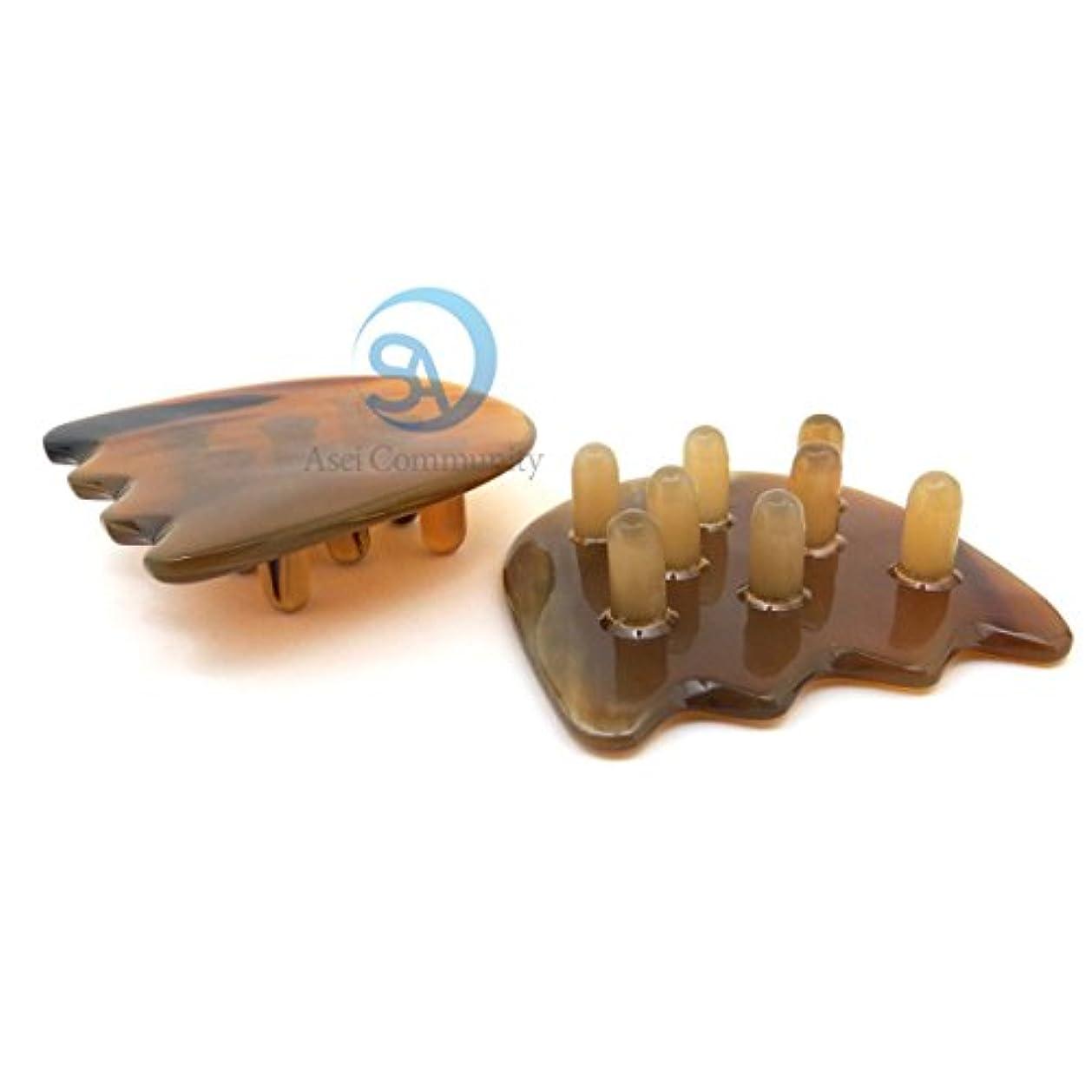 褐色知覚するマッシュかっさ 牛角櫛 刮莎突起 手持ち部なしタイプ チューリップ型