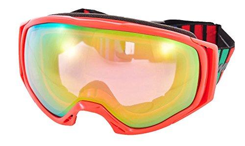 SWANS(スワンズ)大人用 成型球面 ピンクミラー ダブルレンズ スノーゴーグル スキー スノーボード 060MDHS Rレッド F