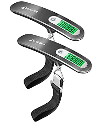 Digital Luggage Scale, Fosmon [Stainless Steel ?Backlight ? LCD Display] Digital Hanging Luggage Weight Scale, up to 110LB (50 kg) with Tare Function - Silver