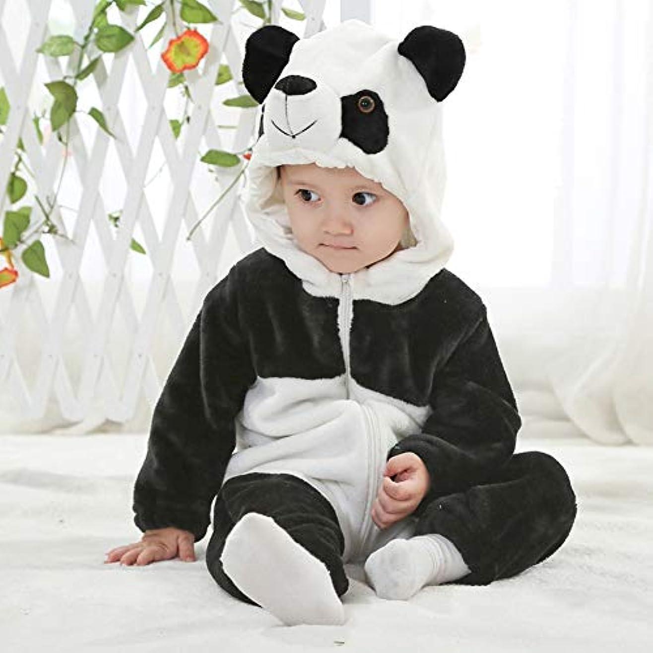 農場回答隔離Asiso ハロウィン ベビー 着ぐるみ もこもこ カバーオール アニマル ロンパース 防寒着 男の子 女の子 80 パンダ