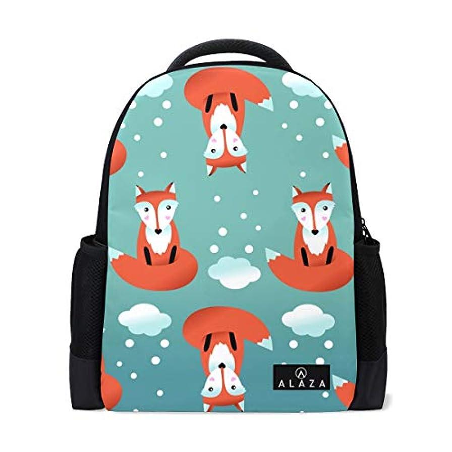 友情拍手する強要旅立の店 リュックサック バックパック 可愛い 狐柄 冬の雪 ポリエステル+メッシュ ファッション 通勤 通学