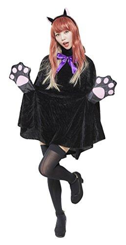 ジグ ハロウィンシリーズ 黒猫PONCHO(ポンチョ) コスチューム 女性 着丈82㎝ 身長155~165㎝ バスト88㎝まで ウエスト70㎝まで 頭囲60㎝まで