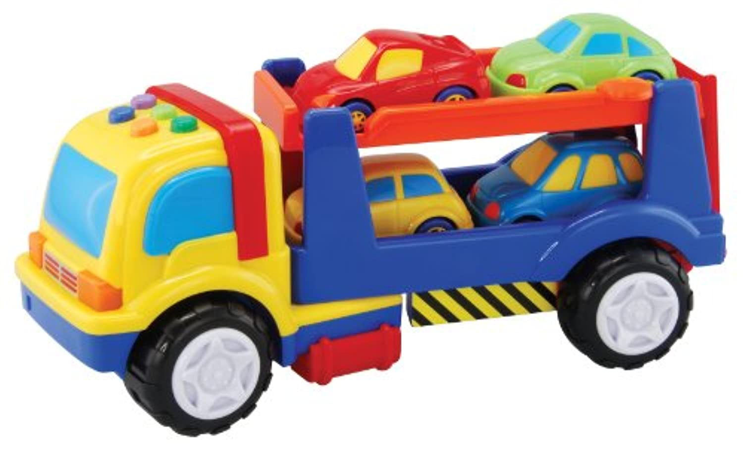 Megcos 1273 Plastic Auto Trailer with Lights Sounds and 4 Little Cars