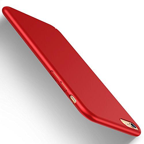 iPhone6Plus ケース iPhone6sPlus ケース 全面保護 超スリム 耐衝撃 指紋防止 艶消しの硬いケース アイフォンのロゴマークを見せない iPhone 6 plus ケース iPhone 6s plusケース レッド【Humixx PZ】