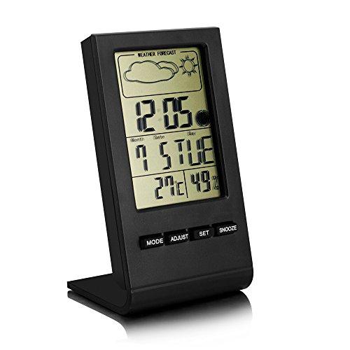 Bengoo デジタル温湿度計 熱中症計 室外 室内温度計 温度計 湿度計 時計 アラーム 置き時計 気象計 温度湿度時刻表示 卓上 スタンド
